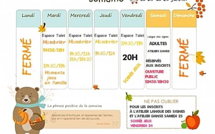 Planning semaine du 20 au 26 janvier  n'oubliez pas pour celles qui sont inscrit…